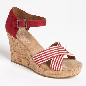 Tom's Sienna Red Striped Sandal Wedges
